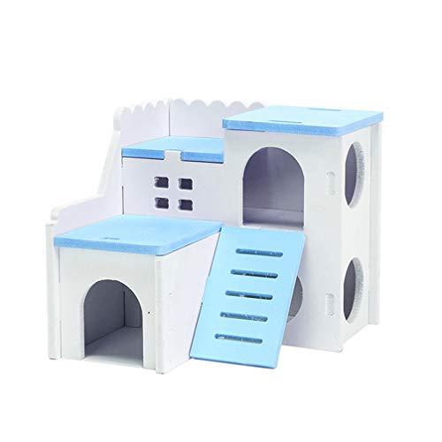 Balacoo Hamster Haus Mini Holzhaus 2 Schichten Bunt Hütte Kleintierhaus Übungen Spielzeug Hideout Villa für Igel Maus Ratte Meerschweinchen (Blau)