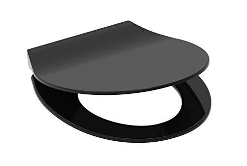 SCHÜTTE SLIM BLACK WC-Sitz, Duroplast Toilettensitz mit Absenkautomatik, Toilettendeckel mit Schnellverschluss für einfache Reinigung, Klobrille passend für alle handelsüblichen WC-Becken, schwarz