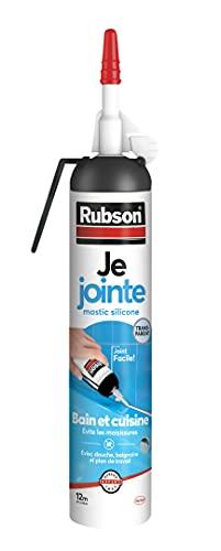 Rubson Je Jointe Mastic Transparent 200 ml, mastic étanche anti-moisissure en aérosol prêt à l'emploi, mastic silicone durable pour joints sanitaires spécial Bain & Cuisine