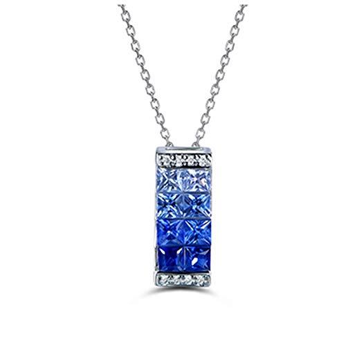 Daesar Collar Oro Blanco 18 Kilates Mujer Collar Rectángulo con Zafiro Azul 0.69ct