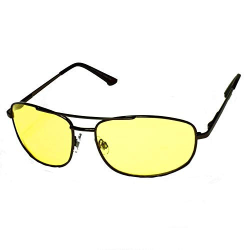 Night driving glasses light yellow lens sunglasses HD high definition vision spring hinge temple brown metal frame (Brown)