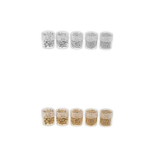 10 botellas de cuentas sueltas chapadas en plata dorada, fabricación de joyas, cuentas espaciadoras