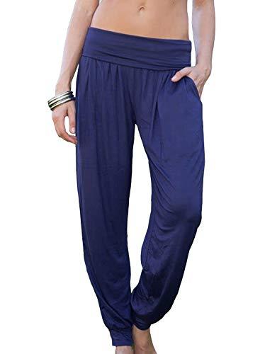 GOSOPIN Womens Solid Workout Yoga Running Pants High Waist Smoke Bottom Summer Loose Fitting Soft Harem Trouser with Pockets Pajama Loungewear Ladies Blue Large