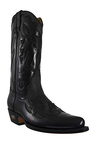 Loblan 772 ES Herren Stiefel, Wachsstoff, handgefertigt, kubanischer Absatz, Kalb, Western-Stil, Cowboy-Einschlüpfe, Schwarz/Schwarz, Shiney Black Waxy - Größe: 43.5 EU