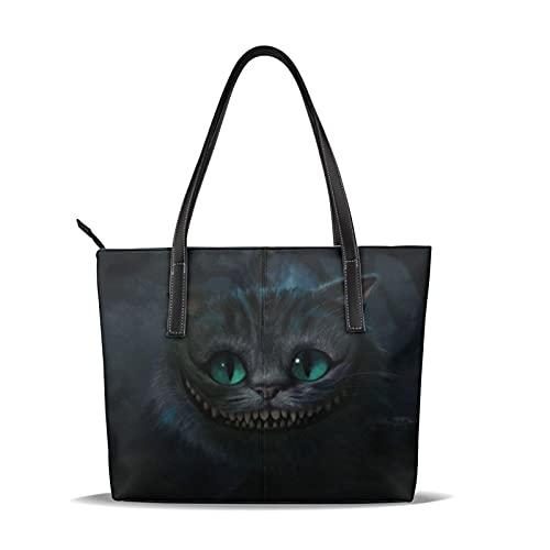 Grinsekatze Alice im Wunderland Handtasche aus feinem Leder, wasserdicht, großes Fassungsvermögen, geeignet für Arbeit, Reisen, Geschäftsreisen