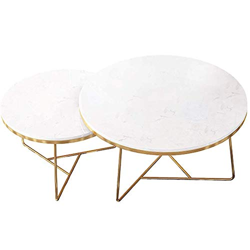 GRXXX Modern Round Coffee Table Set of 2, Contemporary Accent Coffee Side Table, Nesting Tea Table for Living Room, Marble in White & Metal Legs in Gold,B,60x45+40x40 cm