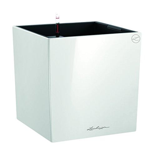 LECHUZA CUBE Premium 40, Weiß Hochglanz, Hochwertiger Kunststoff, Inkl. Bewässerungssystem, Herausnehmbarer Pflanzeinsatz, Für Innen- und Außennutzung, 16360