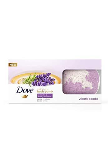 Dove Bath Bomb Milk Swirls Lavender & Honey Macaroon, 2 Pieces, Total Weight 5.6 oz
