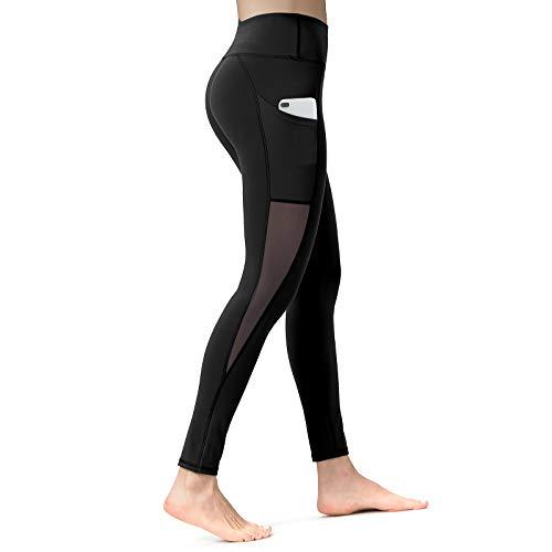 ALONG FIT Leggings Damen mit Taschen, Nicht durchsichtig Sporthose Damen Dehnbar Yogahosen für Damen, Mesh-schwarz, M