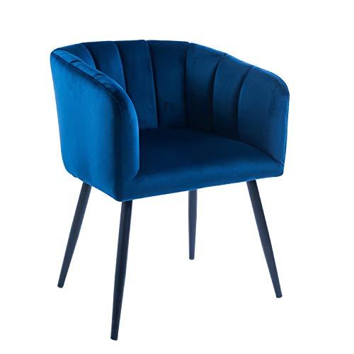 Casa Moro Sillón de terciopelo Mansour azul profundo 59x54x82 cm (a/p/a) silla retro con reposabrazos extra acolchado Relax – Silla de diseño silla de comedor silla de salón con patas de metal CS3034