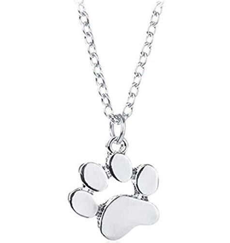 Cadena de collar de garra de perro colgante para mujer de moda para decoración personal Lady Gift Anniversary, plata