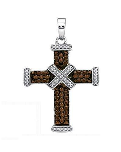 Brandy Diamond Chocolate Brown Silver Glorious Cross Necklace Pendant 1/4 Ctw.