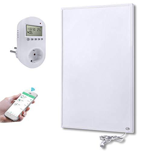 Aufun Infrarot Heizung Wand Panel 600W mit Smart Thermostat Infrarotheizung mit Überhitzungsschutz Stecker für Steckdose ✓ GS TÜV ✓ Kohlekristallheizung, 620x1020x15 mm Weiß, für 8-15m² Zimmer