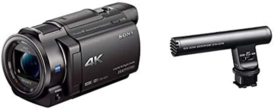 Sony 4K HD Video Recording FDRAX33 Handycam Camcorder with ECMGZ1M Gun / Zoom Microphone (Black)