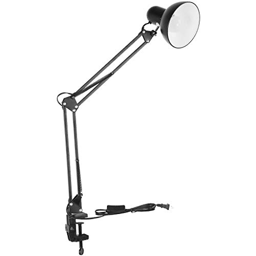 LED Desk Lamp with Clamp, shamoluotuo Flexible Arm Task Lamp , Eye-Care Drafting Table Lamp, Eye Protection Learning Office Light, Desk Space Saving, Include Light Bulb (Black, 6.3in)