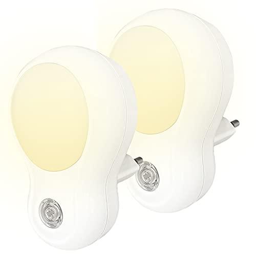 Luz LED de noche, lampara nocturna de interior con sensor automático de día y noche. Funcionan en enchufe eléctrico. Luz Nocturna Infantil. PACK de 2 luces.