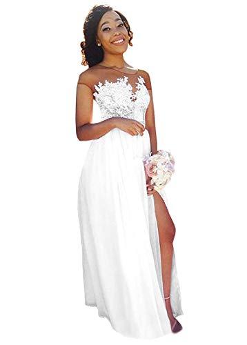 Women's Illusion Neck A Line Slit Chiffon Beach Wedding Dress Lace Bride Dress WhiteA US10