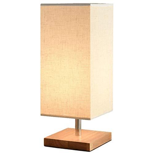 MYBA Lámpara de mesa para mesita de noche, de tela simple, lámpara de mesa de madera maciza, lámpara cuadrada de mesita de noche, dormitorio, salón, oficina, lámpara de noche