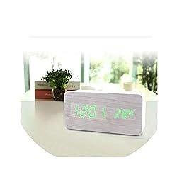 Little lemon Wooden Alarm Clock Watch Table Voice Control Digital Wood Despertador Electronic Desktop USB/AAA Powered Clocks Table,White2