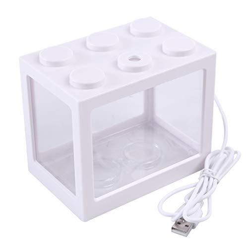 Jo332Bertram Aquarium-Komplett-Set USB Mini Aquarium Fischbecken mit LED für Büro Desktop Hause Dekoration, Weiß