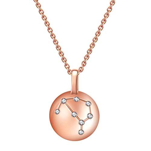 Collares Mujer Rosa de cristal 925 de la constelación de Capricornio Horóscopo Astrología collar 12 Constelación muestra del horóscopo collar de regalos de cumpleaños de la astrología del zodiaco estr