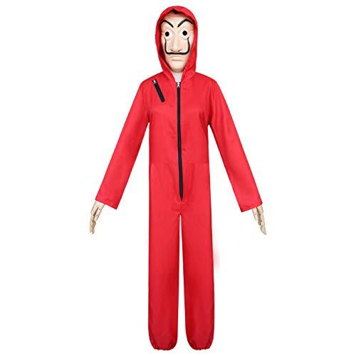 ZHANGXX Kostuum Huis Papier Halloween Kostuums Bankbiljetten Huis Cosplay Suit Dali pak Rood Jumpsuit