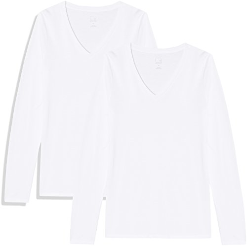 Marca Amazon - MERAKI Camiseta de Manga Larga y Cuello de Pico Mujer, Blanco (White/White), 42, Label: L
