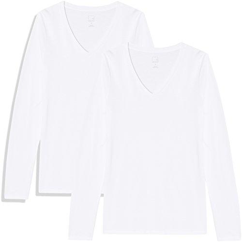 Marque Amazon - MERAKI T-Shirt Col V Manches Longues Femme, Blanc (White/White), 46, Label: XXL