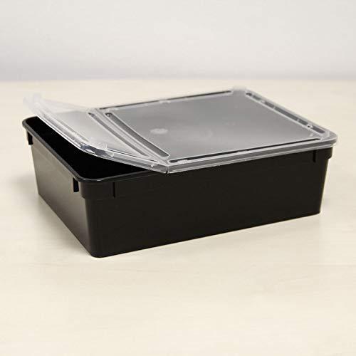 BraPlast Dose 3,0 Liter 24,5 x 18,5 x 7,5 cm - schwarz mit transparentem Deckel/Kunststoff Stapelbox