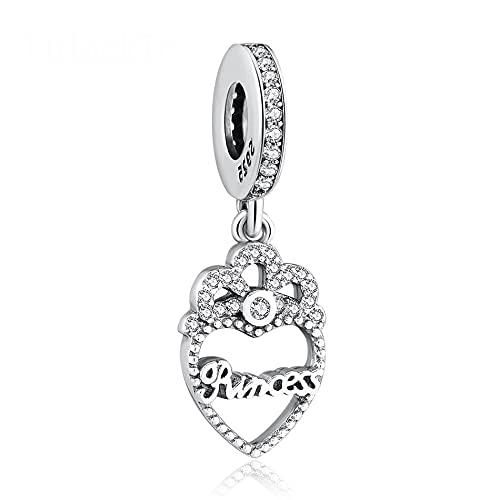 Pandora 925 Plata de Ley DIY Princesa Corona Corazón Colgante Charm Clear Cz Fit Lady Pulsera Para Mujer Fabricación de Joyas