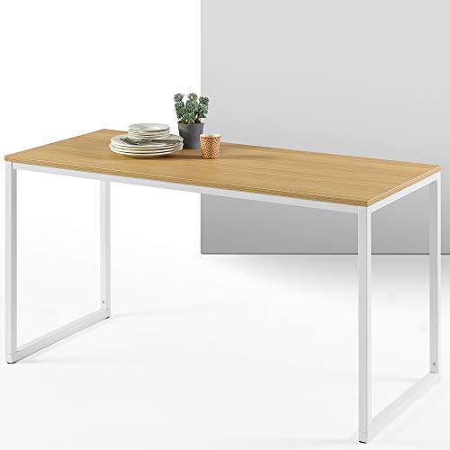 ZINUS Jennifer 55 Inch White Frame Desk / Computer Workstation / Office Desk / Easy Assembly, Natural