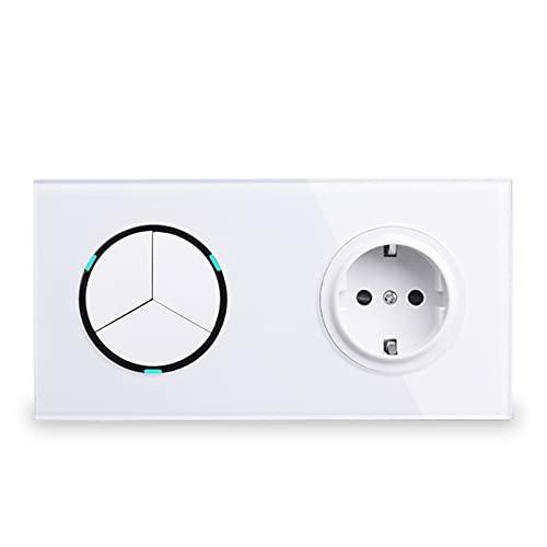 Toma de corriente de pared de panel de vidrio blanco + 3 GANG 2 WAY ON / OFF Pass a través del interruptor de luz Interruptó indicador LED Diseño elegante ( Color : White , Voltage : AC 110-250V )