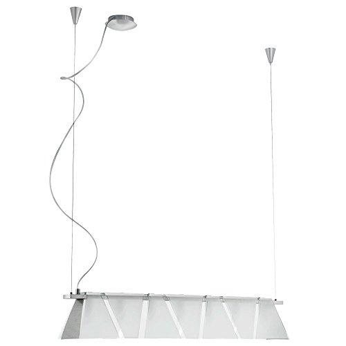 Suspension luminaire verre satiné lampe G9 salle de séjour éclairage plafonnier acier