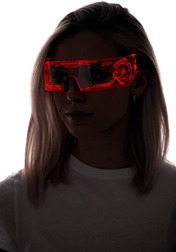 Cyberpunk LED-Visierbrille – perfekt für Cosplay und Festivals – Cybergoth – Cyberpunk-Brille, Rot (Htc01-red), Einheitsgröße