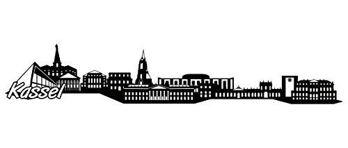 Samunshi® Kassel Skyline Wandtattoo Sticker Aufkleber Wandaufkleber City Gedruckt Kassel 120x22cm schwarz