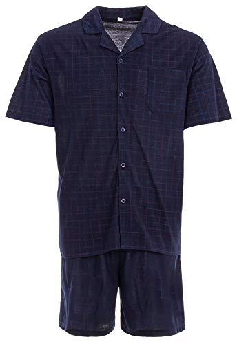 Lucky Shorty–Camiseta de con pantalones cortos Pijama Corta Verano klassiches patrón Azul azul marino