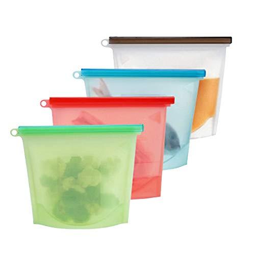 再利用可能 食品保存パック(シリコン製 ジップロック エコバッグ )冷蔵庫対応/電子レンジ対応 4種セット HIDERME