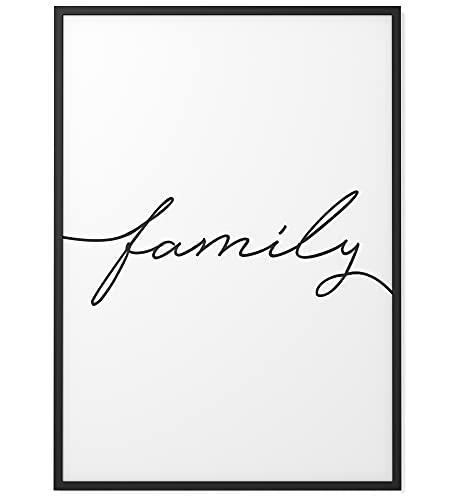 Papierschmiede® Typografie-Poster | A4 | Wanddeko Wohnzimmer, Schlafzimmer, Küche | schwarz-weiß Bild mit Spruch ohne Rahmen | Family