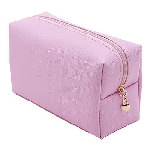 PING - Bolsa de cosméticos de piel sintética con cremallera, impermeable, pequeña bolsa de maquillaje de color sólido, organizador de artículos de tocador para fiestas de viaje, rosa,
