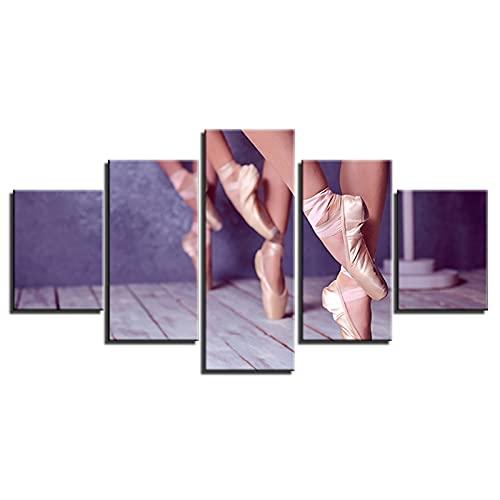 DFGGE Leinwanddrucke 5 Stücke Landschaften Ballett Mädchen Füße Wandkunst Modular Poster HD Geschenk Für Zuhause Wohnzimmer Moderne Kunstwerk Heimtextilien