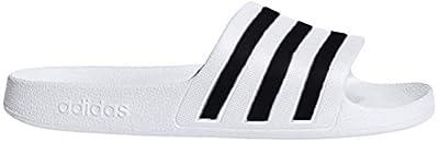adidas Women's Adilette Aqua Sandal, White/Black/White, 8 M US