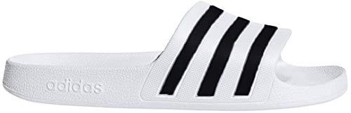 adidas Women's Adilette Aqua Sandal, White/Black/White, 11 M US