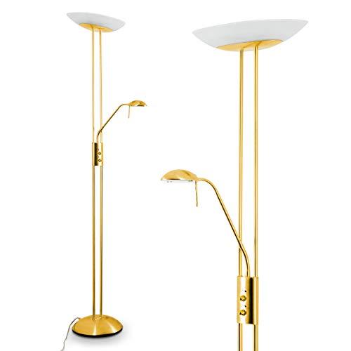 LED Stehlampe Lucca, dimmbare Stehleuchte aus Metall in Gold, mit verstellbarem Lesearm, 2180 Lumen, Lichtfarbe 3000 Kelvin (warmweiß), Deckenfluter für Wohnzimmer, Flur, Esszimmer, Schlafzimmer