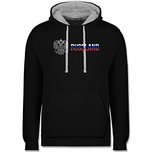 Shirtracer Länder - Russland Wappen und Flagge - 3XL - Schwarz/Grau meliert - Russia Trainingsanzug - JH003 - Hoodie zweifarbig und Kapuzenpullover für Herren und Damen