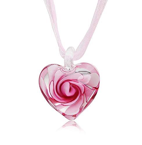 Urbetterself Murano Glas Herzform Anhänger Halskette Mode Lampwork Glas baumeln Halskette, Pink