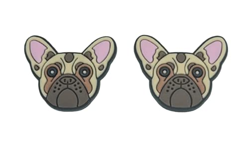 French Bulldog Dog Shoe Charm compatible with Crocs Clogs Wristbands Set of 2