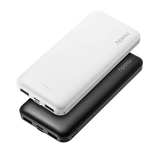 Miady 2 Stück Powerbank 10000mAh, Externer Akku mit USB C & Mirco Eingang, 2 USB-Ausgang Portable Ladegerät, Akku Pack für iPhone,iPad,Samsung,Galaxy,Huawei usw.