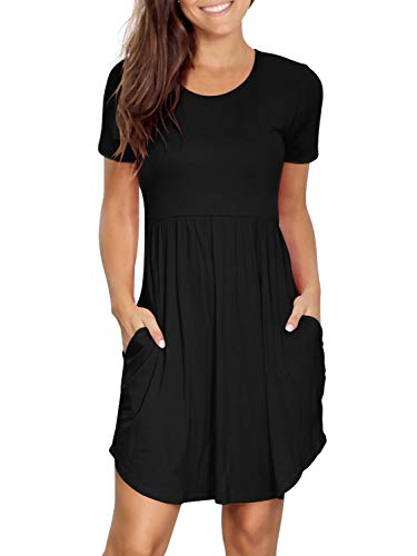 Amoretu Womens Dresses Casual Short Sleeve Empire Waist Dress with Pockets(Black,S)