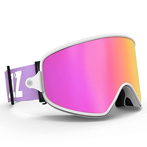 Lororenory Skibril, 2-in-1, met magnetische dual-use-lens, voor nachtskilop, anti-fog UV400 snowboardbrillen voor mannen en vrouwen, skibril
