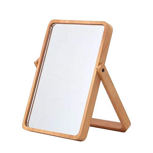Cestbon Kosmetikspiegel Tischspiegel Standspiegel Klein Mit Holz-Rahmen Und Standfuß Braun,Grün